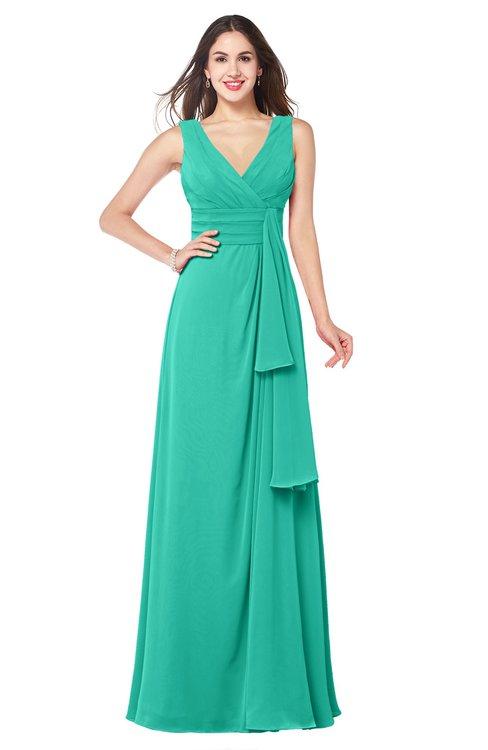 ColsBM Brenda Viridian Green Romantic Thick Straps Sleeveless Zipper Floor Length Sash Plus Size Bridesmaid Dresses