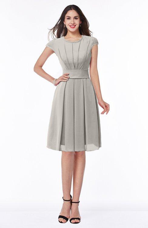 ColsBM Maya Ashes Of Roses Modest A-line Short Sleeve Chiffon Knee Length Sash Plus Size Bridesmaid Dresses