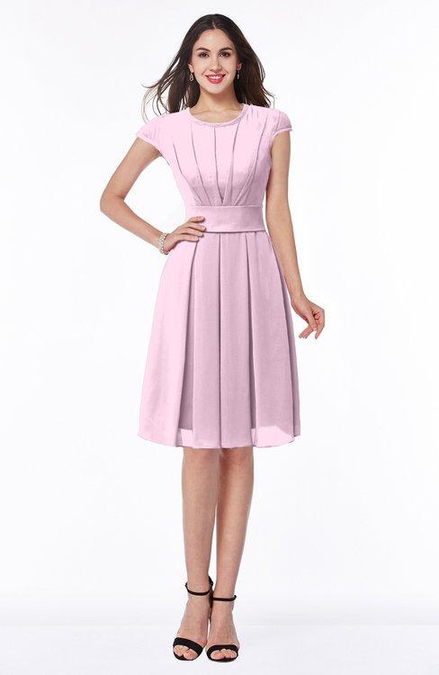 ColsBM Maya Baby Pink Modest A-line Short Sleeve Chiffon Knee Length Sash Plus Size Bridesmaid Dresses