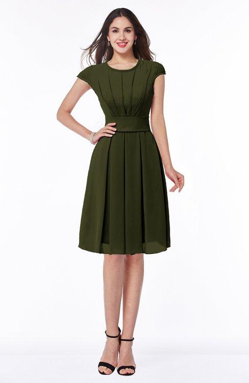 ColsBM Maya Beech Modest A-line Short Sleeve Chiffon Knee Length Sash Plus Size Bridesmaid Dresses