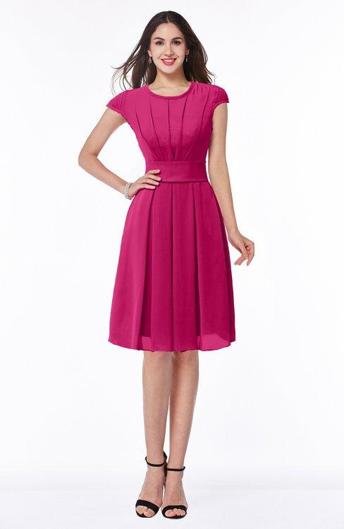 ColsBM Maya Beetroot Purple Modest A-line Short Sleeve Chiffon Knee Length Sash Plus Size Bridesmaid Dresses