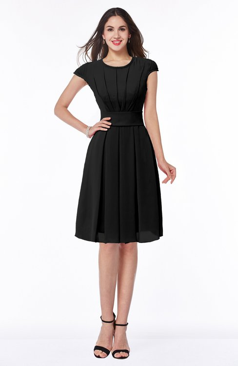 ColsBM Maya Black Modest A-line Short Sleeve Chiffon Knee Length Sash Plus Size Bridesmaid Dresses