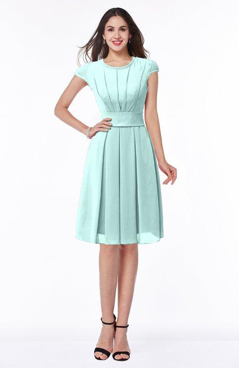 ColsBM Maya Blue Glass Modest A-line Short Sleeve Chiffon Knee Length Sash Plus Size Bridesmaid Dresses