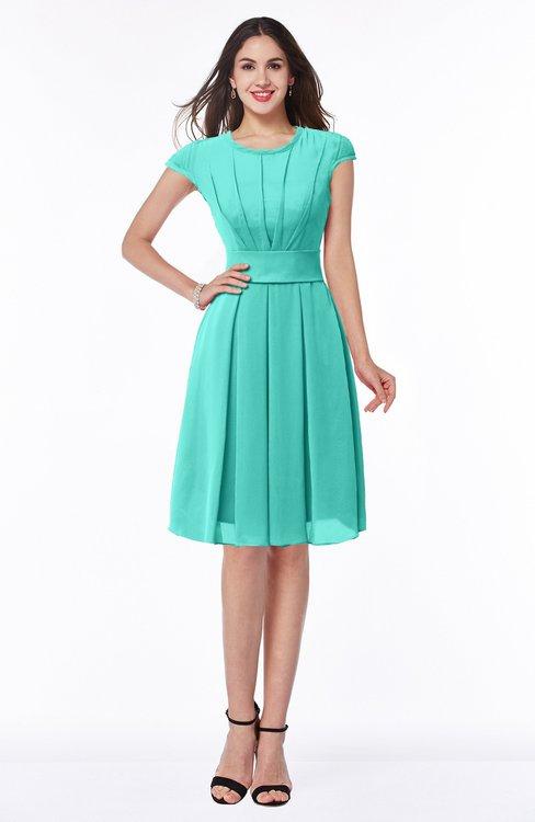 ColsBM Maya Blue Turquoise Modest A-line Short Sleeve Chiffon Knee Length Sash Plus Size Bridesmaid Dresses