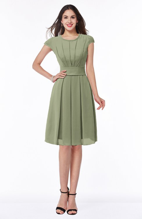 ColsBM Maya Bog Modest A-line Short Sleeve Chiffon Knee Length Sash Plus Size Bridesmaid Dresses