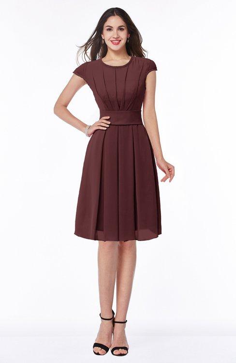 ColsBM Maya Burgundy Modest A-line Short Sleeve Chiffon Knee Length Sash Plus Size Bridesmaid Dresses