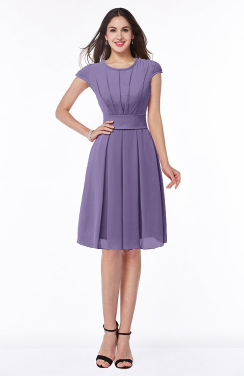 ColsBM Maya Chalk Violet Modest A-line Short Sleeve Chiffon Knee Length Sash Plus Size Bridesmaid Dresses