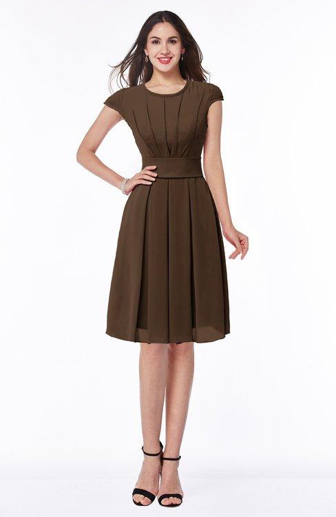 ColsBM Maya Chocolate Brown Modest A-line Short Sleeve Chiffon Knee Length Sash Plus Size Bridesmaid Dresses