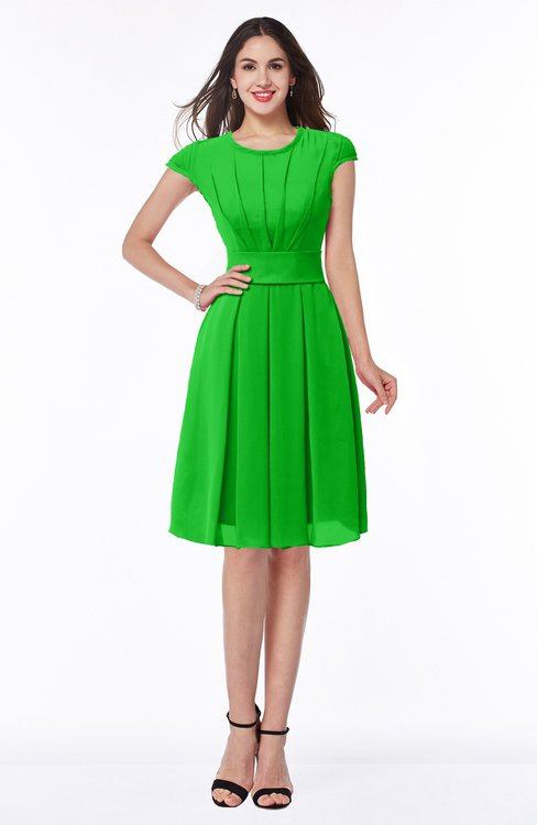 ColsBM Maya Classic Green Modest A-line Short Sleeve Chiffon Knee Length Sash Plus Size Bridesmaid Dresses