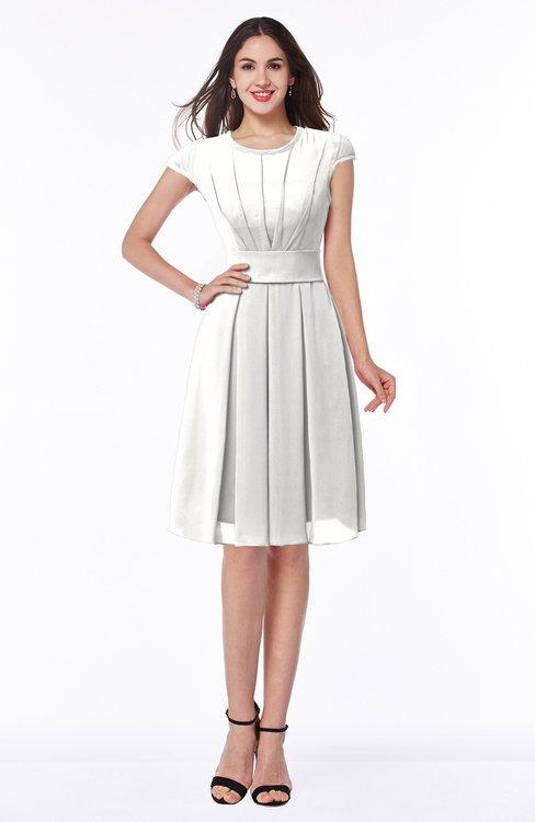 ColsBM Maya Cloud White Modest A-line Short Sleeve Chiffon Knee Length Sash Plus Size Bridesmaid Dresses