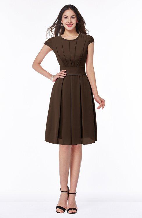 ColsBM Maya Copper Modest A-line Short Sleeve Chiffon Knee Length Sash Plus Size Bridesmaid Dresses