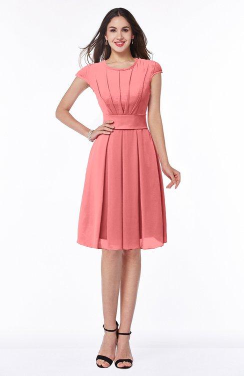 ColsBM Maya Coral Modest A-line Short Sleeve Chiffon Knee Length Sash Plus Size Bridesmaid Dresses