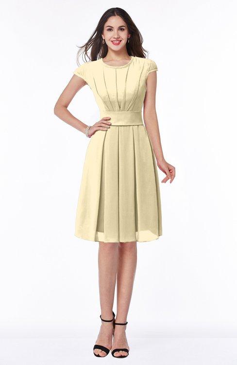 ColsBM Maya Cornhusk Modest A-line Short Sleeve Chiffon Knee Length Sash Plus Size Bridesmaid Dresses