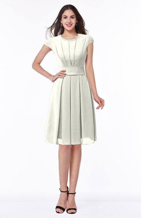 ColsBM Maya Cream Modest A-line Short Sleeve Chiffon Knee Length Sash Plus Size Bridesmaid Dresses
