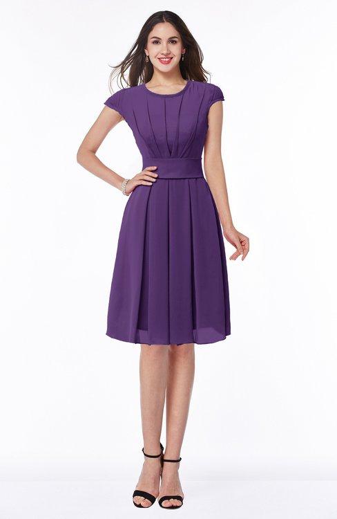 ColsBM Maya Dark Purple Modest A-line Short Sleeve Chiffon Knee Length Sash Plus Size Bridesmaid Dresses
