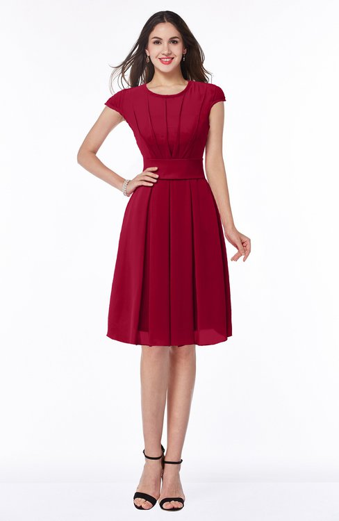 ColsBM Maya Dark Red Modest A-line Short Sleeve Chiffon Knee Length Sash Plus Size Bridesmaid Dresses