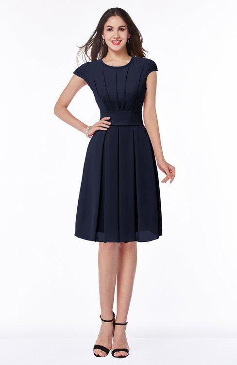 ColsBM Maya Dark Sapphire Modest A-line Short Sleeve Chiffon Knee Length Sash Plus Size Bridesmaid Dresses
