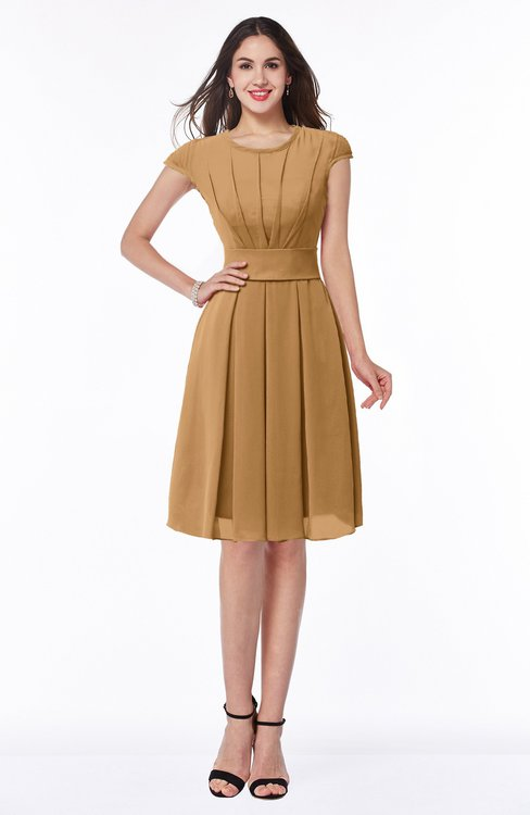 ColsBM Maya Doe Modest A-line Short Sleeve Chiffon Knee Length Sash Plus Size Bridesmaid Dresses