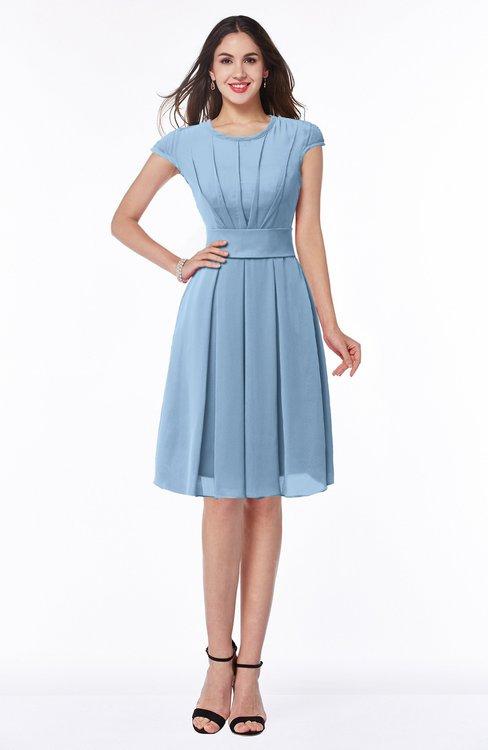 ColsBM Maya Dusty Blue Modest A-line Short Sleeve Chiffon Knee Length Sash Plus Size Bridesmaid Dresses