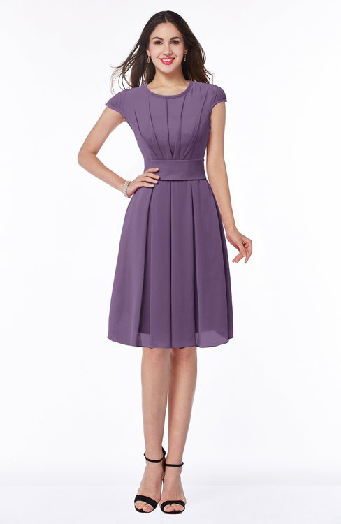 ColsBM Maya Eggplant Modest A-line Short Sleeve Chiffon Knee Length Sash Plus Size Bridesmaid Dresses