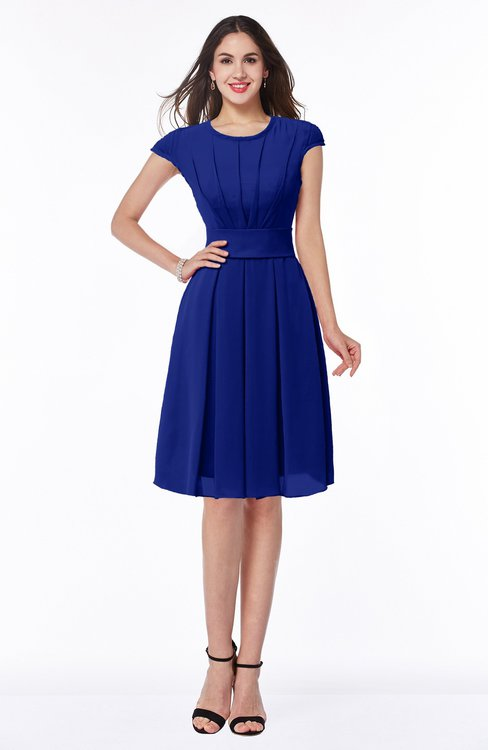 ColsBM Maya Electric Blue Modest A-line Short Sleeve Chiffon Knee Length Sash Plus Size Bridesmaid Dresses