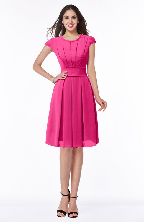 ColsBM Maya Fandango Pink Modest A-line Short Sleeve Chiffon Knee Length Sash Plus Size Bridesmaid Dresses