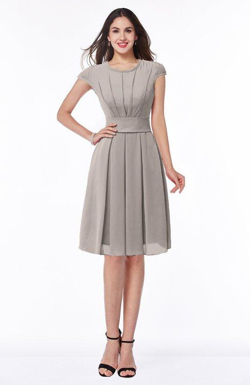 ColsBM Maya Fawn Modest A-line Short Sleeve Chiffon Knee Length Sash Plus Size Bridesmaid Dresses