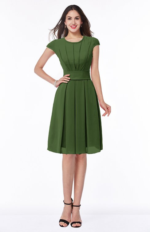 ColsBM Maya Garden Green Modest A-line Short Sleeve Chiffon Knee Length Sash Plus Size Bridesmaid Dresses