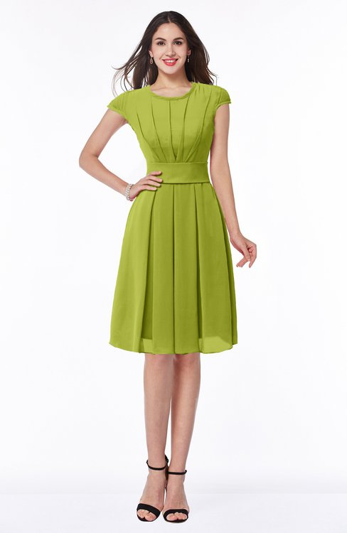 ColsBM Maya Green Oasis Modest A-line Short Sleeve Chiffon Knee Length Sash Plus Size Bridesmaid Dresses