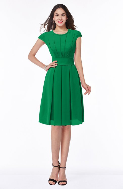 ColsBM Maya Green Modest A-line Short Sleeve Chiffon Knee Length Sash Plus Size Bridesmaid Dresses