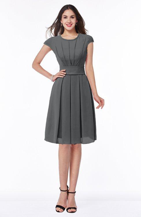 ColsBM Maya Grey Modest A-line Short Sleeve Chiffon Knee Length Sash Plus Size Bridesmaid Dresses