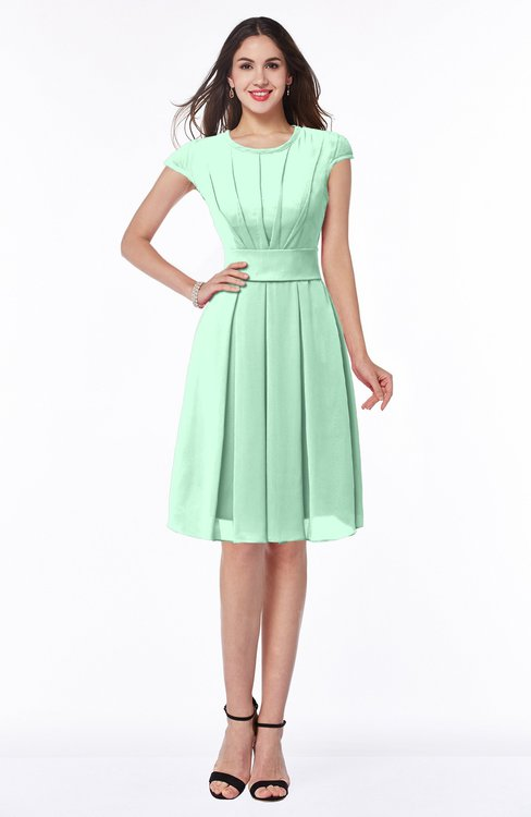 ColsBM Maya Honeydew Modest A-line Short Sleeve Chiffon Knee Length Sash Plus Size Bridesmaid Dresses