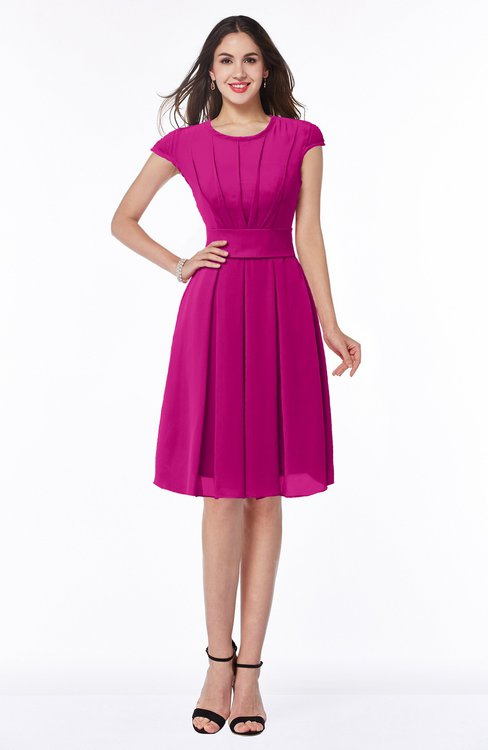 ColsBM Maya Hot Pink Modest A-line Short Sleeve Chiffon Knee Length Sash Plus Size Bridesmaid Dresses