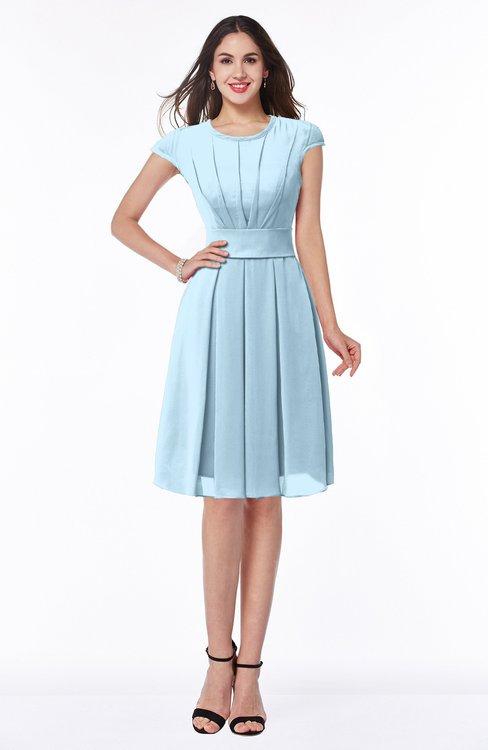 ColsBM Maya Ice Blue Modest A-line Short Sleeve Chiffon Knee Length Sash Plus Size Bridesmaid Dresses