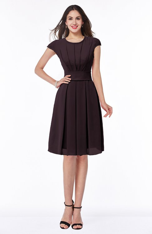 ColsBM Maya Italian Plum Modest A-line Short Sleeve Chiffon Knee Length Sash Plus Size Bridesmaid Dresses