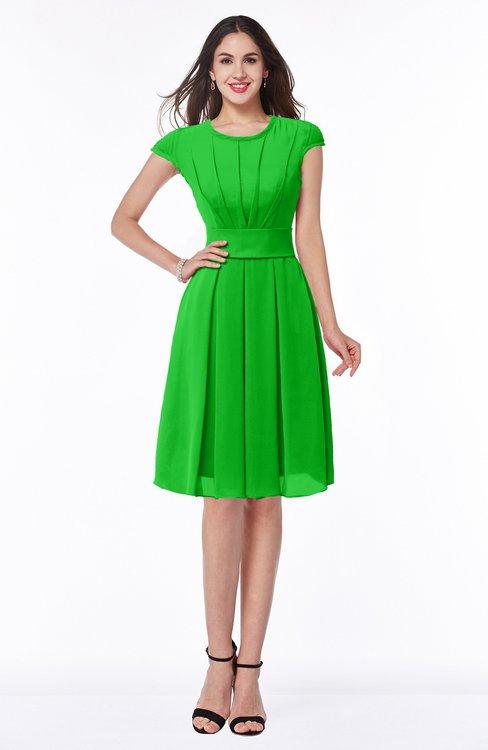 ColsBM Maya Jasmine Green Modest A-line Short Sleeve Chiffon Knee Length Sash Plus Size Bridesmaid Dresses