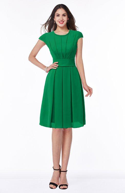 ColsBM Maya Jelly Bean Modest A-line Short Sleeve Chiffon Knee Length Sash Plus Size Bridesmaid Dresses