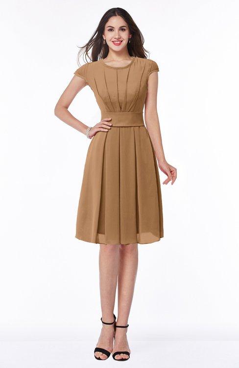 ColsBM Maya Light Brown Modest A-line Short Sleeve Chiffon Knee Length Sash Plus Size Bridesmaid Dresses
