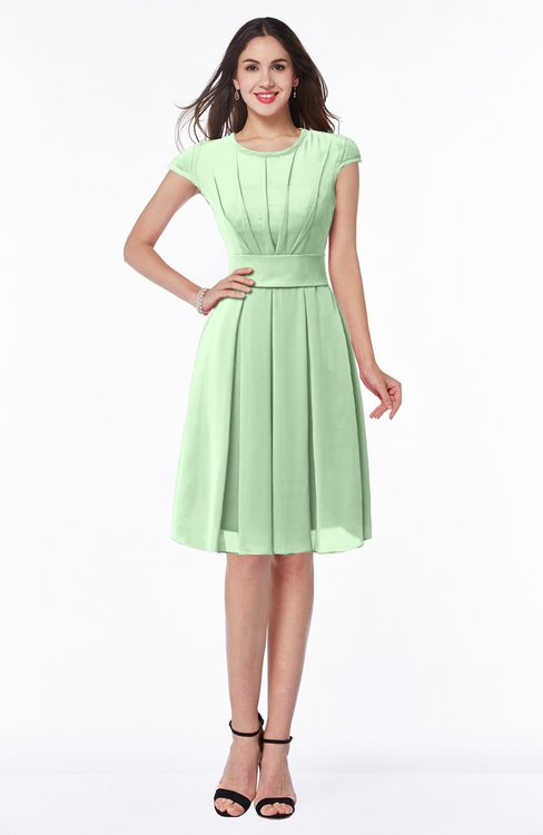 ColsBM Maya Light Green Modest A-line Short Sleeve Chiffon Knee Length Sash Plus Size Bridesmaid Dresses