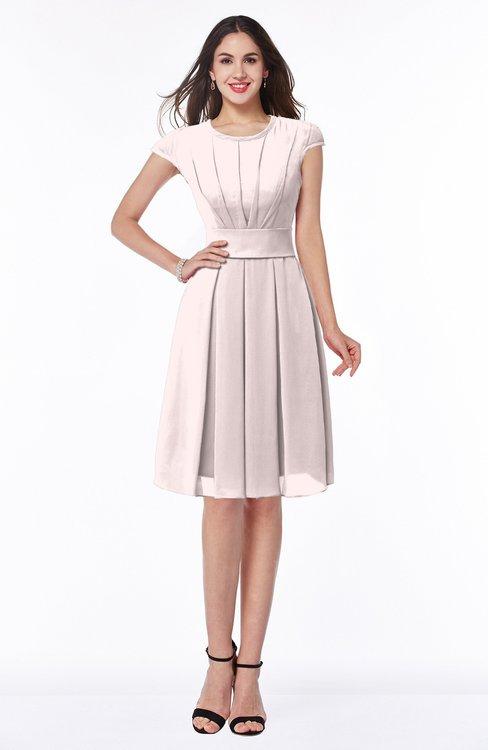 ColsBM Maya Light Pink Modest A-line Short Sleeve Chiffon Knee Length Sash Plus Size Bridesmaid Dresses