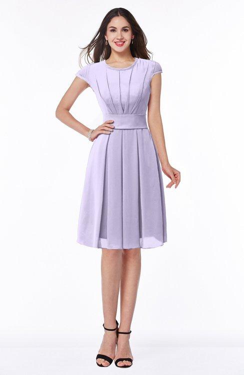 ColsBM Maya Light Purple Modest A-line Short Sleeve Chiffon Knee Length Sash Plus Size Bridesmaid Dresses