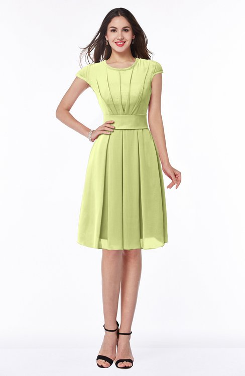 ColsBM Maya Lime Green Modest A-line Short Sleeve Chiffon Knee Length Sash Plus Size Bridesmaid Dresses