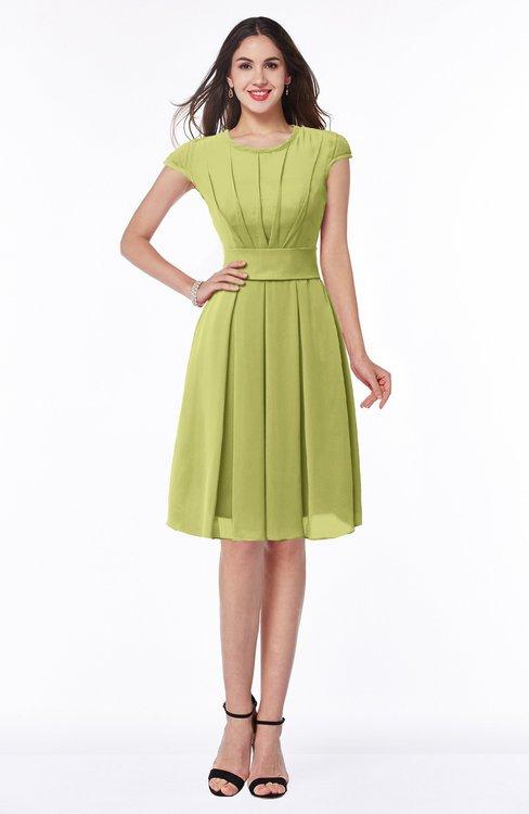 ColsBM Maya Linden Green Modest A-line Short Sleeve Chiffon Knee Length Sash Plus Size Bridesmaid Dresses