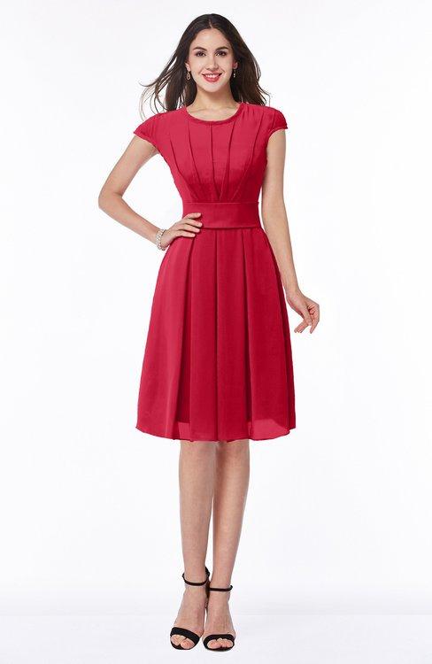 ColsBM Maya Lollipop Modest A-line Short Sleeve Chiffon Knee Length Sash Plus Size Bridesmaid Dresses