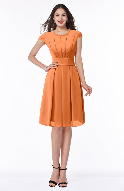 ColsBM Maya Mango Modest A-line Short Sleeve Chiffon Knee Length Sash Plus Size Bridesmaid Dresses