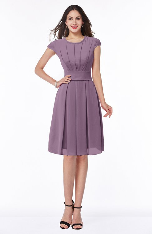 ColsBM Maya Mauve Modest A-line Short Sleeve Chiffon Knee Length Sash Plus Size Bridesmaid Dresses