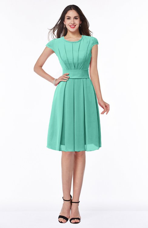 ColsBM Maya Mint Green Modest A-line Short Sleeve Chiffon Knee Length Sash Plus Size Bridesmaid Dresses