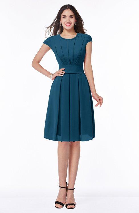 ColsBM Maya Moroccan Blue Modest A-line Short Sleeve Chiffon Knee Length Sash Plus Size Bridesmaid Dresses