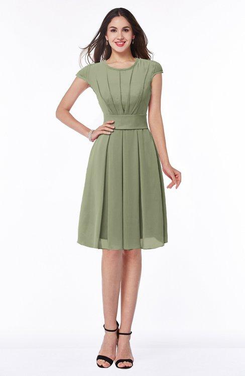 ColsBM Maya Moss Green Modest A-line Short Sleeve Chiffon Knee Length Sash Plus Size Bridesmaid Dresses