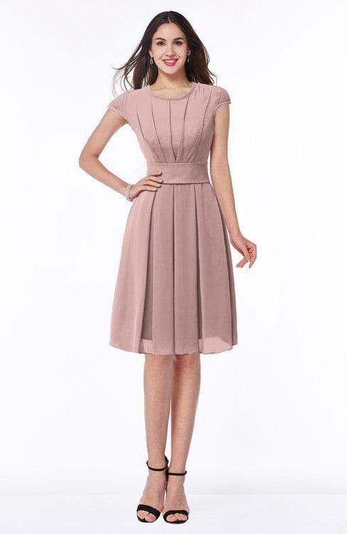 ColsBM Maya Nectar Pink Modest A-line Short Sleeve Chiffon Knee Length Sash Plus Size Bridesmaid Dresses